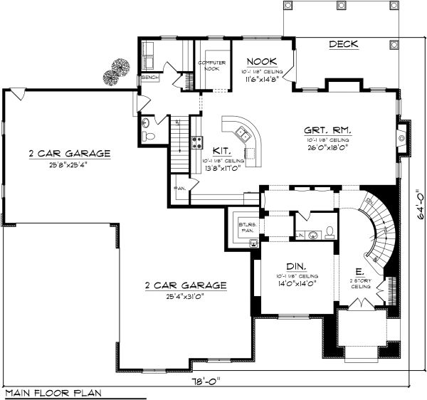 Traditional Floor Plan - Main Floor Plan Plan #70-1143