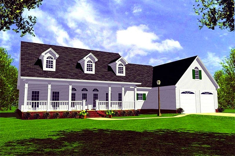 Farmhouse Style House Plan - 3 Beds 2.5 Baths 1852 Sq/Ft Plan #21-127 Exterior - Front Elevation