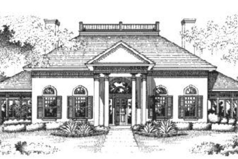 Southern Exterior - Front Elevation Plan #45-208