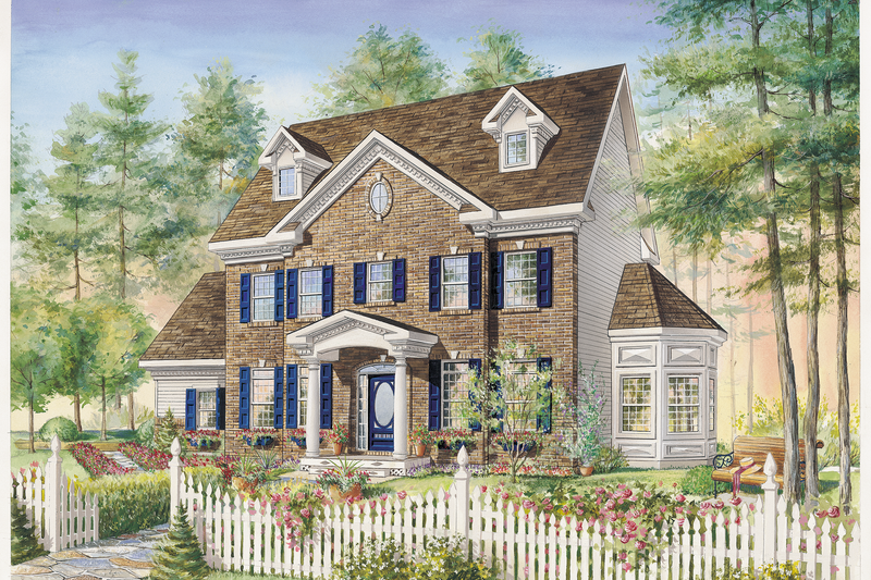 Colonial Style House Plan - 3 Beds 1 Baths 2153 Sq/Ft Plan #25-4792 Exterior - Front Elevation