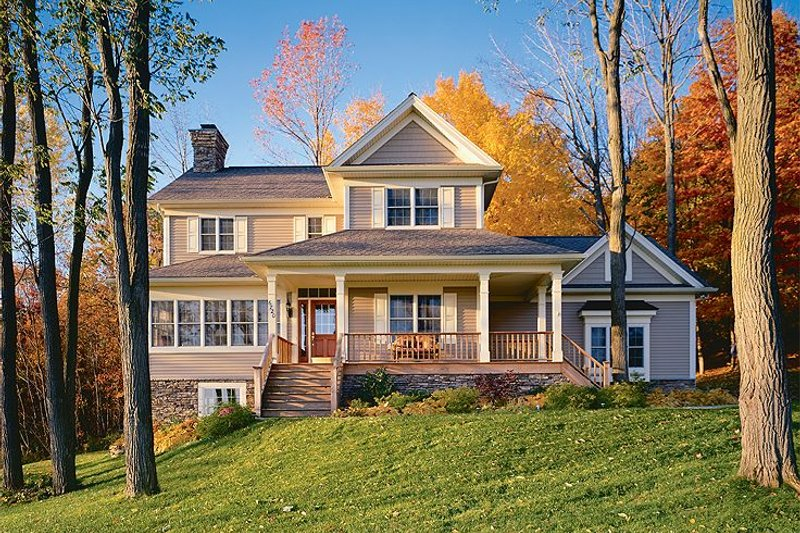 Farmhouse Style House Plan - 3 Beds 2.5 Baths 2183 Sq/Ft Plan #23-293 Exterior - Front Elevation