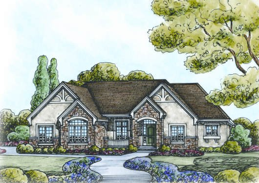 European Exterior - Front Elevation Plan #20-2125