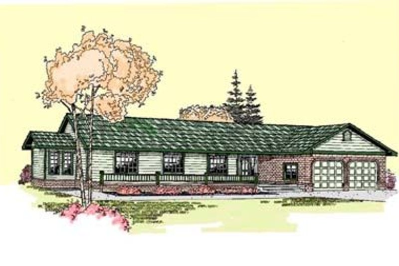Ranch Style House Plan - 4 Beds 3 Baths 2557 Sq/Ft Plan #60-272 Exterior - Front Elevation
