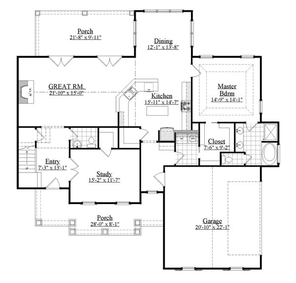 Farmhouse Floor Plan - Main Floor Plan Plan #1071-18