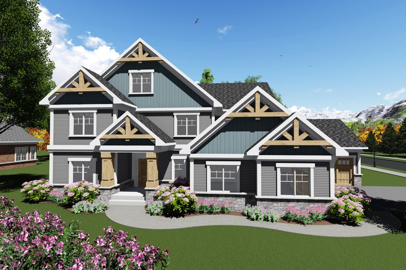 Craftsman Style House Plan - 4 Beds 3.5 Baths 3651 Sq/Ft Plan #70-1289 Exterior - Front Elevation