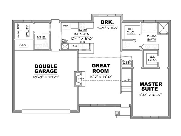 European Floor Plan - Main Floor Plan Plan #34-239