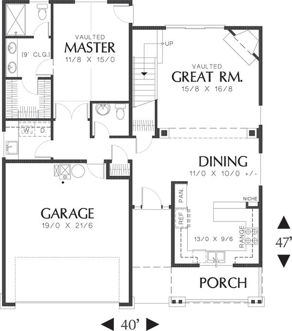 Craftsman Floor Plan - Main Floor Plan Plan #48-439