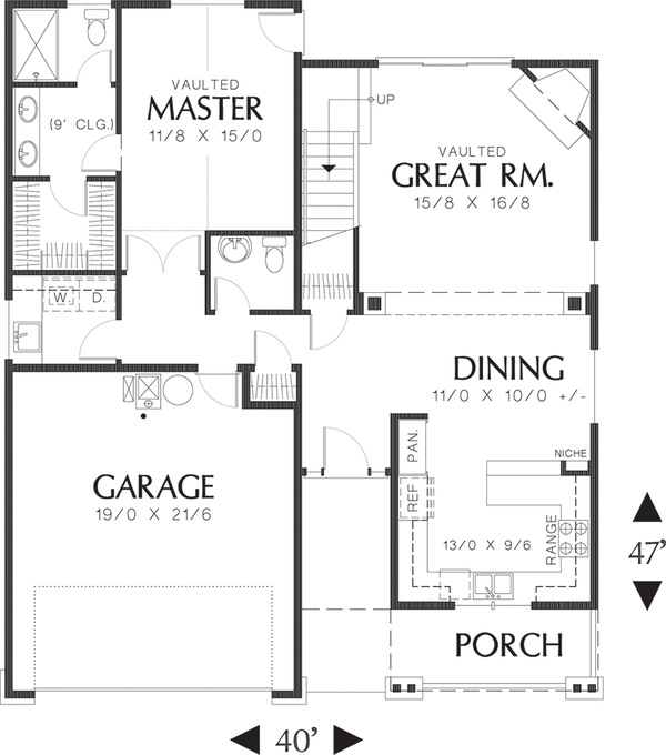 Craftsman Floor Plan - Main Floor Plan Plan #48-439