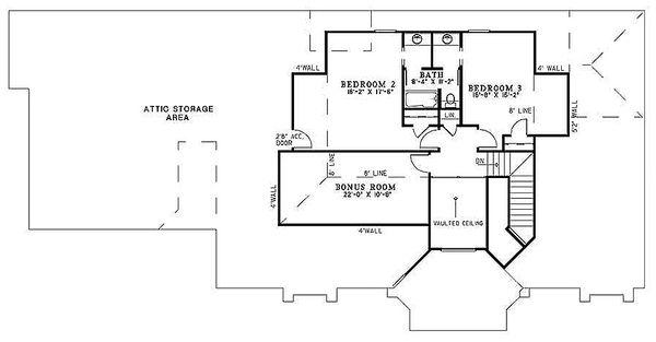 Ranch Floor Plan - Upper Floor Plan #17-2273