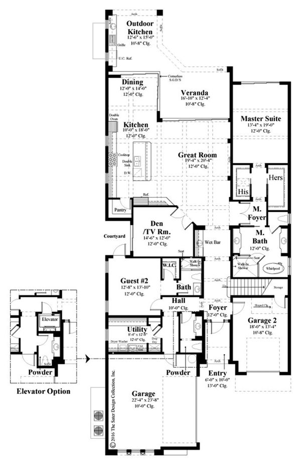 Mediterranean Floor Plan - Main Floor Plan Plan #930-489