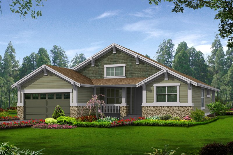 Craftsman Style House Plan - 2 Beds 2 Baths 1502 Sq/Ft Plan #132-196 Exterior - Front Elevation