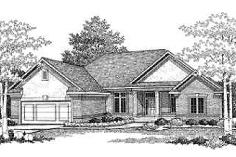 Traditional Style House Plan - 2 Beds 2 Baths 2206 Sq/Ft Plan #70-336 Exterior - Front Elevation