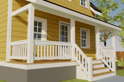 Cottage Style House Plan - 1 Beds 2 Baths 686 Sq/Ft Plan #542-19 Exterior - Covered Porch