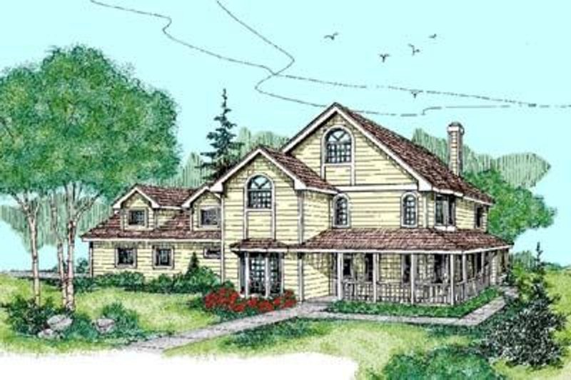 Country Exterior - Front Elevation Plan #60-417 - Houseplans.com