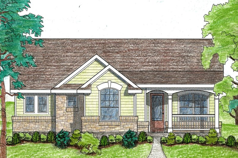 Ranch Style House Plan - 2 Beds 2 Baths 1092 Sq/Ft Plan #80-101 Exterior - Front Elevation