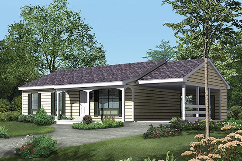 Ranch Style House Plan - 3 Beds 2 Baths 1120 Sq/Ft Plan #57-414 Exterior - Front Elevation