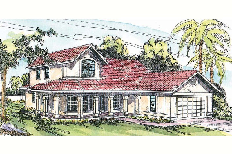 Mediterranean Exterior - Front Elevation Plan #124-435