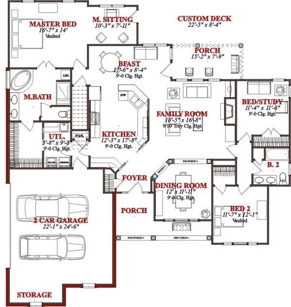 Traditional Floor Plan - Main Floor Plan Plan #63-192