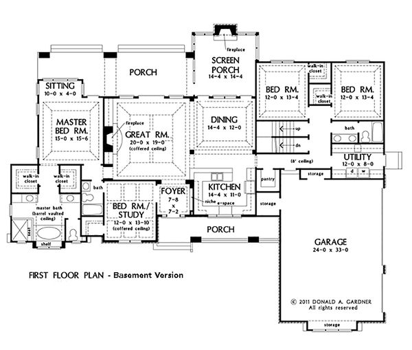 Craftsman Style House Plan - 4 Beds 3 Baths 2533 Sq/Ft Plan #929-24 Floor Plan - Other Floor Plan