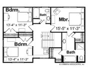 Farmhouse Floor Plan - Upper Floor Plan Plan #928-6
