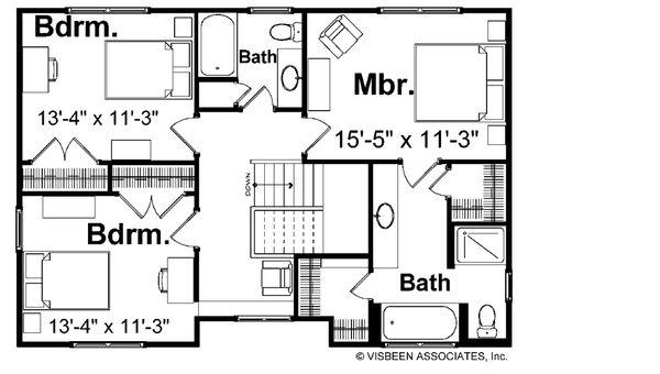 House Plan Design - Farmhouse Floor Plan - Upper Floor Plan #928-6