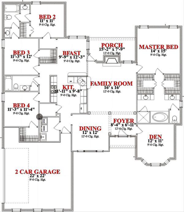 Traditional Floor Plan - Main Floor Plan Plan #63-353