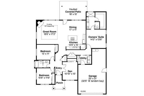 Craftsman Floor Plan - Main Floor Plan Plan #124-1031