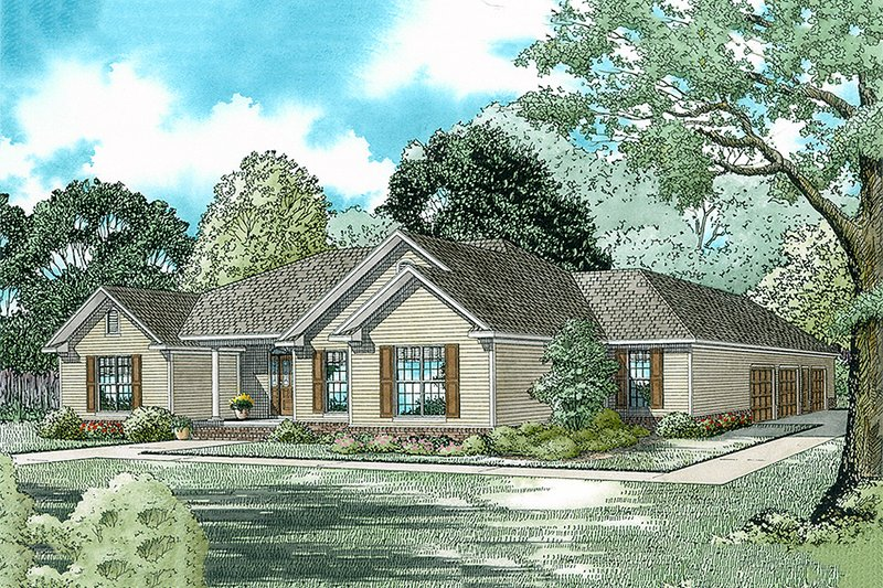 Traditional Style House Plan - 3 Beds 2.5 Baths 2096 Sq/Ft Plan #17-175