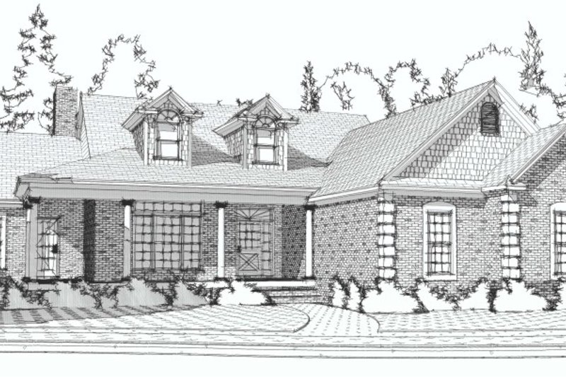 Country Style House Plan - 4 Beds 2.5 Baths 3572 Sq/Ft Plan #63-190 Exterior - Front Elevation