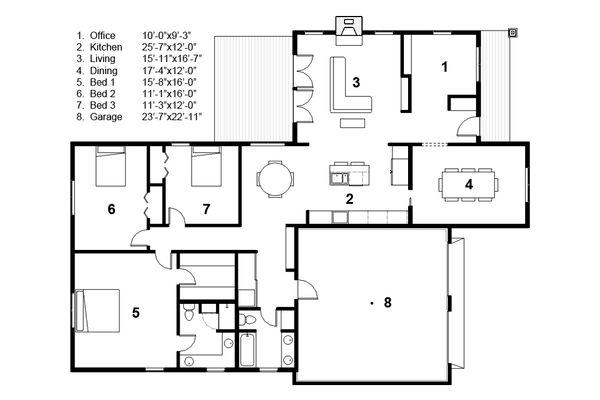 Craftsman Floor Plan - Main Floor Plan Plan #497-45