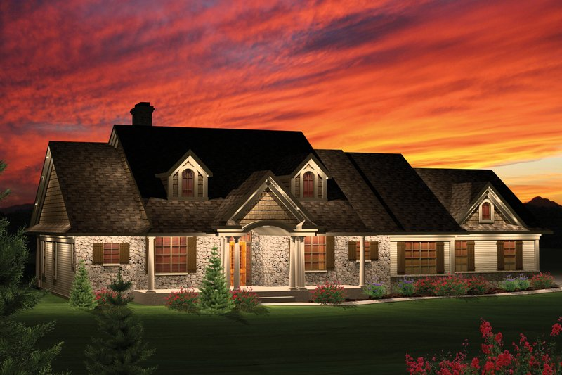 Country Style House Plan - 3 Beds 2 Baths 2016 Sq/Ft Plan #70-1050 Exterior - Front Elevation