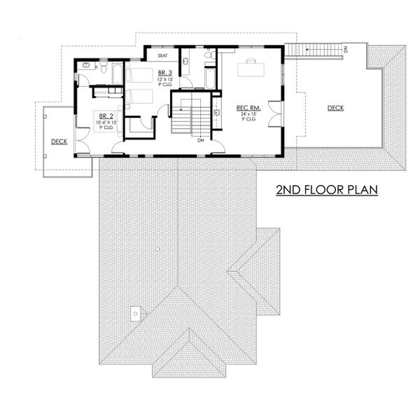Contemporary Floor Plan - Upper Floor Plan Plan #1042-21