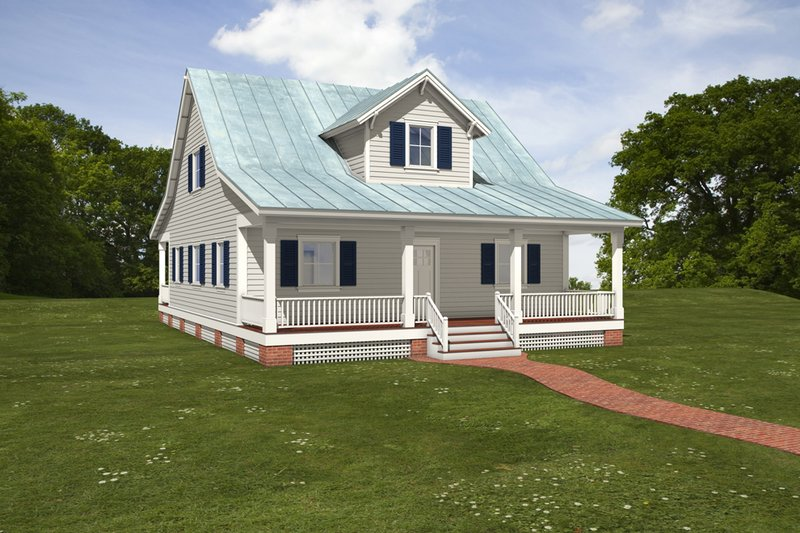 House Blueprint - Farmhouse Exterior - Front Elevation Plan #497-10