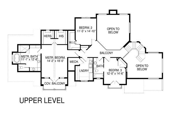 Traditional Floor Plan - Upper Floor Plan Plan #920-82