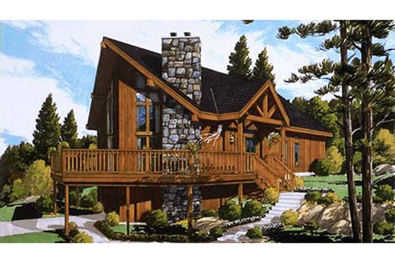 European Style House Plan - 3 Beds 2 Baths 1306 Sq/Ft Plan #3-339