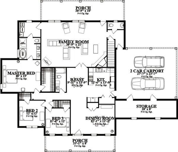 Country Floor Plan - Main Floor Plan Plan #63-292