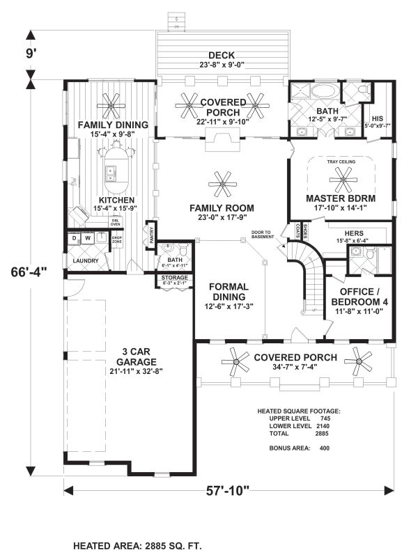 Craftsman Floor Plan - Main Floor Plan Plan #56-726