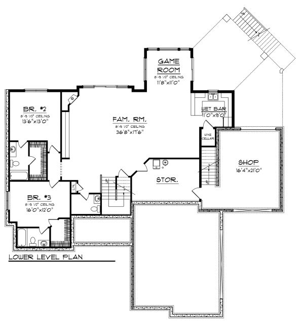 Ranch Floor Plan - Lower Floor Plan Plan #70-1149