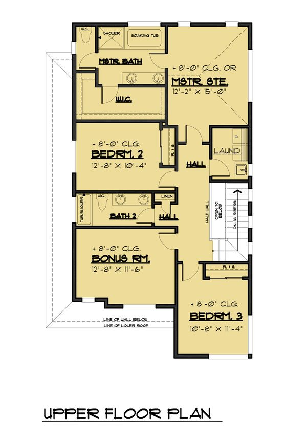 Contemporary Floor Plan - Upper Floor Plan Plan #1066-88
