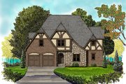 European Style House Plan - 4 Beds 3.5 Baths 2899 Sq/Ft Plan #413-876 Exterior - Front Elevation