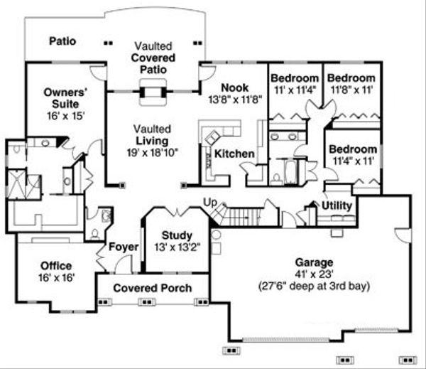 Craftsman Floor Plan - Main Floor Plan Plan #124-760