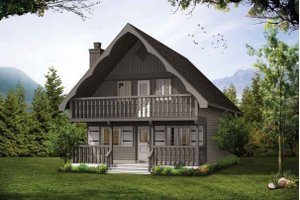 House Blueprint - Cabin Exterior - Front Elevation Plan #47-665