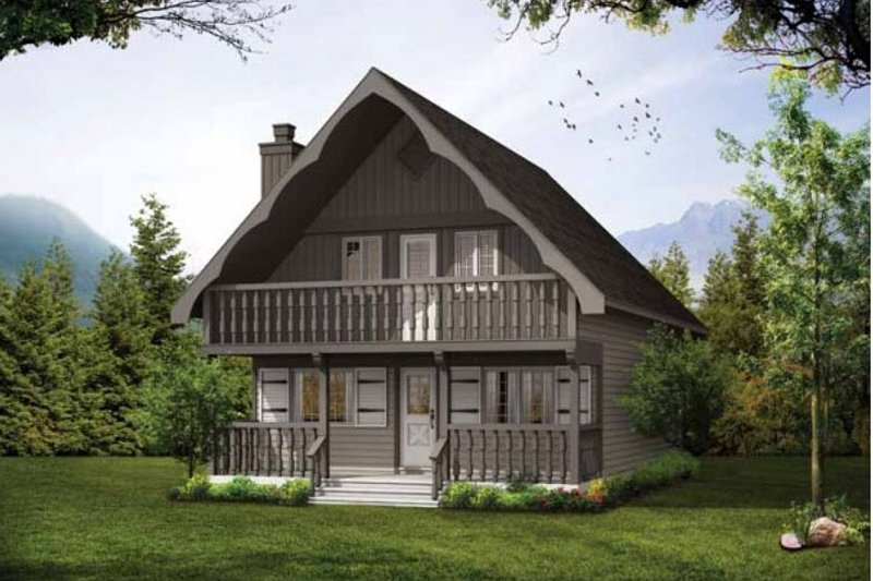 Cabin Exterior - Front Elevation Plan #47-665