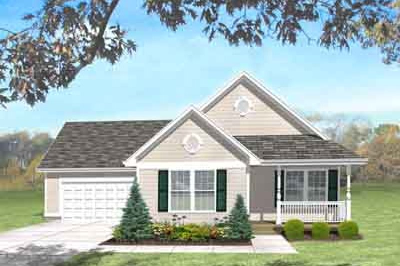 Traditional Style House Plan - 3 Beds 1 Baths 1101 Sq/Ft Plan #50-272 Exterior - Front Elevation