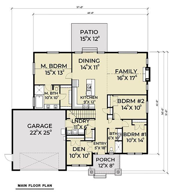 Craftsman Floor Plan - Main Floor Plan Plan #1070-47