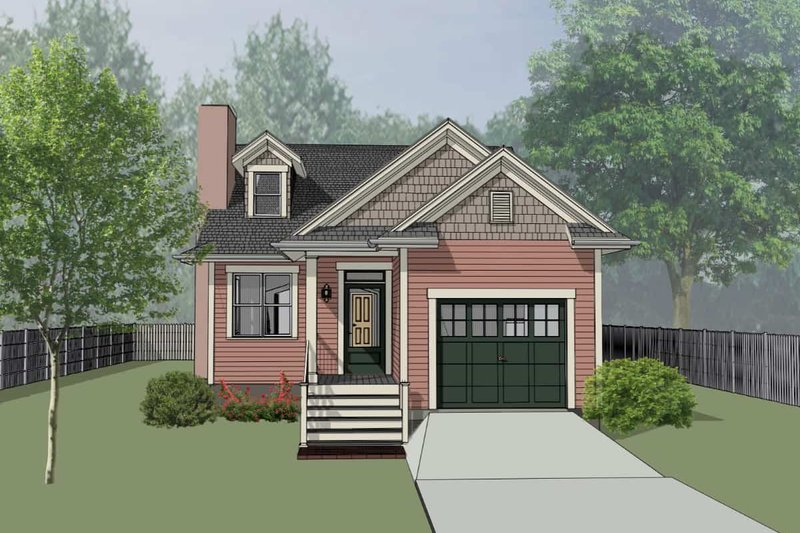 Bungalow Style House Plan - 2 Beds 2 Baths 1067 Sq/Ft Plan #79-307 Exterior - Front Elevation