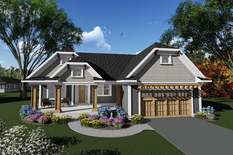 Dream House Plan - Craftsman Exterior - Front Elevation Plan #70-1267