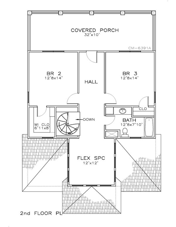 Beach Floor Plan - Upper Floor Plan Plan #8-310