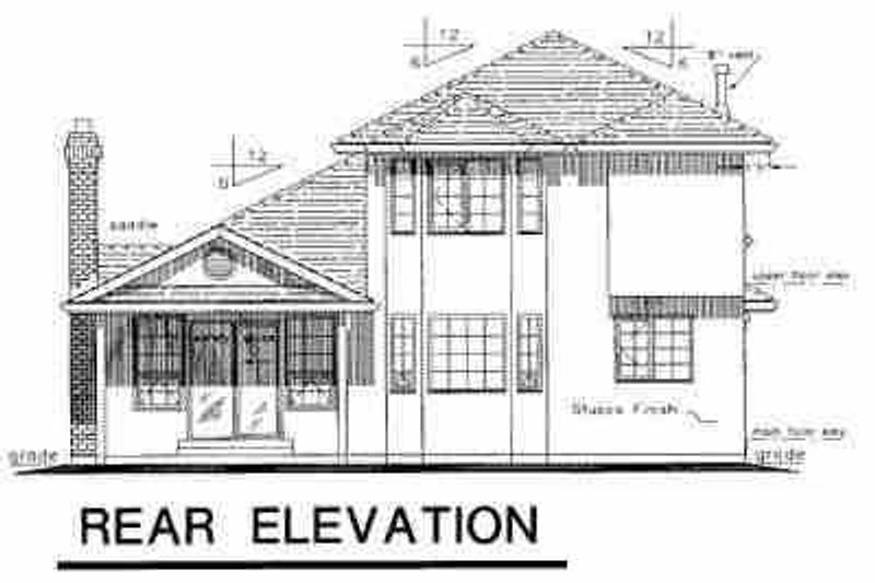 European Exterior - Rear Elevation Plan #18-203 - Houseplans.com