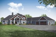 Craftsman Style House Plan - 4 Beds 5 Baths 5558 Sq/Ft Plan #124-1163 Exterior - Front Elevation